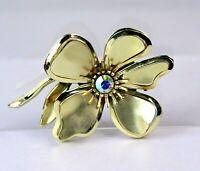 Vintage Gold Tone Aurora Borealis  3 Dimensional Flower Brooch
