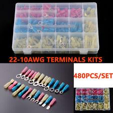 480PCS Heat Shrink Wire Connectors Assortment Crimp Terminals W/Case 22-10WAG