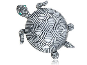 Hot Stylish Elements Etched Shell Gunmetal Sea Turtle Tortoise Pin Opal Brooch