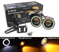 "2Pcs Amber 3.5"" Projector LED Fog DRL Driving Light w/ COB Halo Angel Eyes Rings"