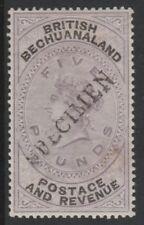 080 BECHUANALAND 1888 QV £5  handstamped  SPECIMEN fine mint only 345 produced