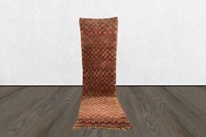 Moroccan 12x3 ft vintage berber runner rug, wool tribal Handmade  runner