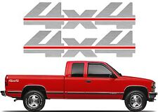 Pair Silver 4X4 Decals For 1988-1998 Chevrolet/GMC Fullsize Trucks New Free Ship