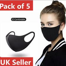 Pack of 5 Washable Face Mask Covering Black Reuseable Dust Mask Lot 5x Bundle UK