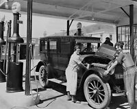 Vintage  Gasoline Service Station 2 Flapper attendants  photo 1920s