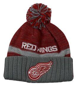 Reebok Face-Off Mens NHL Detroit Red Wings Hockey Cuffed Pom Beanie Hat New
