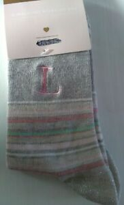Ex-Oasis Women's Initial socks L- Brand New with tags - 1 pair - One size