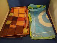 Lot of 2 Vintage Vera Neumann Scarves Blue Green Handkerchief Brown Scarf
