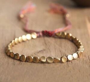 Tibetan Copper Bead Good Luck Wealth Bracelet Gold Rope Healing Bracelets Gift
