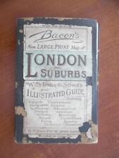 c.1886 Bacon's New Large Print Map of London and Suburbs Folding Map Antique UK
