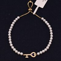 4mm Freshwater White Pearl CZ Key Charm Adjustable Bracelet Yellow Silver 925
