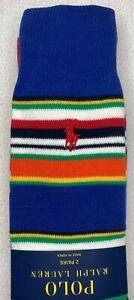 Polo Ralph Lauren Men's 2 Pack Crew Socks Multi-Stripe Royal/Solid Red NWT