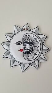 Mexican folk art collectible hand painted ceramic sun and moon, colorful