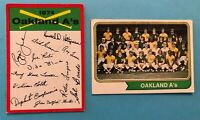 1974 Topps Team Card and Checklist of Oakland Athletics