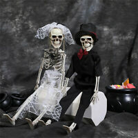 Halloween Party Skeletons Full Body Posable Joints Skeletons for Bride Groom 2ps