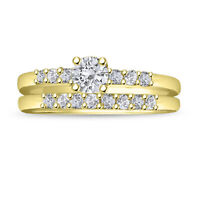 14K Yellow Gold Over 2.00 CT Round Cut Diamond Solitaire Engagement Bridal Set