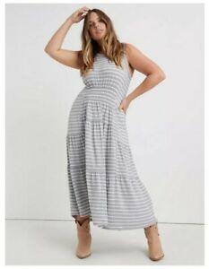 Lucky Brand Womens Maxi Dress Sleeveless Ruched Gray Stripe Plus Size 2X New
