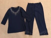 Quacker Factory 2 Pc Shirt Pant Set Women XS Navy Blue Jewels Cotton #E1