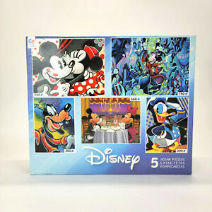 Disney 5 in 1 Puzzles 2015 Mickey Minnie Mouse Goofy Donald Duck * OPEN BOX *