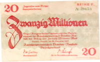 1923 Germany DRESDEN 20.000.000 / 20 Million Mark Banknote