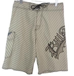 Billabong Men Board Shorts swim trunks sz 32 Australia embroidered w pocket tan