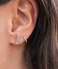 925 Sterling Silver Round Bar Stick Post Earring Studs