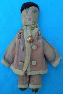 Antique Primitive  Small Cloth Doll Painted Face 1800s
