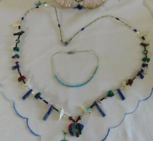 VTG Turquoise, MOP, Sterling Birds, Fish and Bear Beaded Necklace & Bracelet