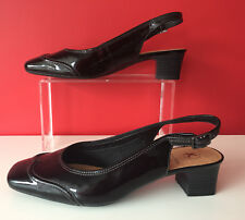 Clarks Black Patent Leather Chunky Block Heel Court Shoes Uk 6.5 Extra Wide NEW