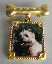 SIGNED JJ GOLD TONE BROOCH - DOG PICTURE HANGING FROM BONE