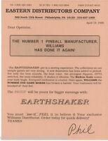 Earthshaker Pinball Machine FLYER Original NOS 1989 Williams Hype Sales Sheet