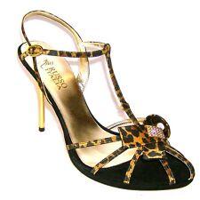 Italian Ladies Womens Black Gold Leather Satin Stiletto Sandals Size UK 7 EU 40