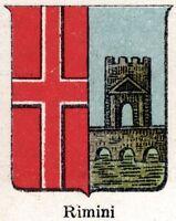 Rimini: Piccolo Stemma del 1901. Cromolitografia. Stampa Antica + Passepartout