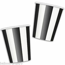 6 BLACK White Stripes Style Party 12oz Disposable Paper Cups