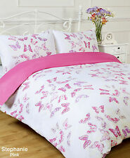KING BED SIZE STEPHANIE PINK / WHITE BUTTERFLY DESIGN DUVET COVER SET