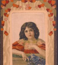 WINSCH SILK...VALENTINE'S DAY CHILD,LILY OF THE VALLEY FLOWERS,HEARTS,POSTCARD