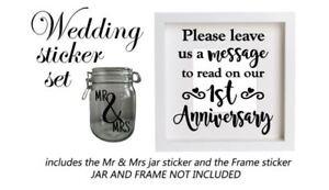 Wedding Venue Decor - Vinyl Sticker, Please leave your message, Frame & Jar Set
