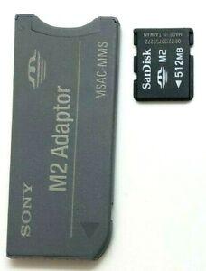 Sony M2 SanDisk 512MB MSAC-MMS & Adaptor Camera Memory Stick Adapter Genuine