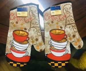 Home Collection Kitchen Oven Mitts Mittens Coffee Time. Lot of 2. A+Seller.