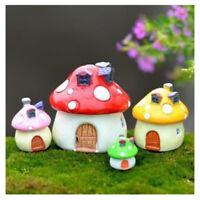 4 color & Size In Set Miniature Fairy Garden Mushroom House Ornament Outdoor JV