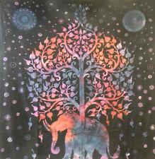 Copriletto matrimoniale indiano Elefante Albero rosa nero 230x210cm cotone