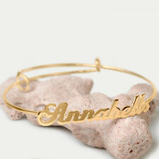Women's Adjustable Personalized Name Bangle Bracelet Sterling Silver Gold