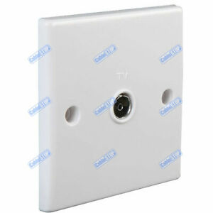 WHITE COAX FEMALE SOCKET TV CABLE AERIAL FACE WALL PLATE ROUNDED EDGE