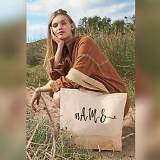 Personalised Tote Bag Custom Name Initial Jute Base Canvas Mothers Day