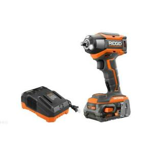 RIDGID Cordless Impact Wrench 18-Volt Charger Battery Brushless Variable Speed