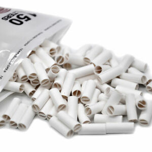 HORNET Paper Filter Tips 150X 6MM PRE ROLLED White Joint Cones Mouthpiece Tips