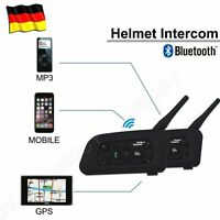 2x Motorrad Helm Sprechanlage Gegensprechanlage Intercom 1200m BT Wireless DE