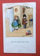 CPA. Illustrateur EBNER.1929. C'est un cadeau pour ta fête. Enfants. Poupée.