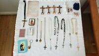 Vintage Italy Catholic Sterling Rosaries, Medals Crucifix, Relic, Religious Lot