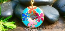 Beautiful Enamel And Gold Plate Flower Pendant Necklace - Bohemian